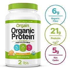 Orgain Organic Peanut Butter Protein Powder is a naturally smooth and delicious nourishment drink with 21 grams of organic protein and 6 grams organic fiber per serving. USDA Organic, Gluten Free, Kosher, Vegan, Non GMO, Soy Free. No artifici...