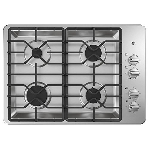 Ge Natural (GE JGP3030SLSS 30 Inch Natural Gas Sealed Burner Style Cooktop with 4 Burners, ADA Compliant, in Stainless Steel)