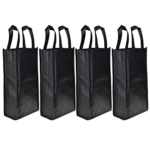Cosmos ® 4 Pack Non-Woven 2-Bottle Wine Tote Bag Holder, Reusable Gift Bag - Black ()