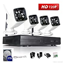 VOYAGEA 720P HD Wireless 1MP Network Camera 4CH960 NVR Wireless monitoring security system NVR CCTV Surveillance Systems Support Smartphone Remote view 3TB hard driveA24
