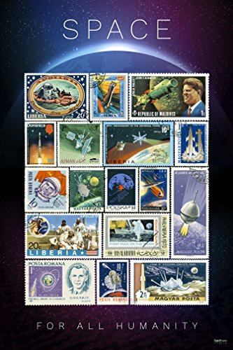 "Roman Theatre History Costumes (The Golden Age of Space - Rare Vintage Space Stamps Poster - International Edition. (Unframed 24""x36"") - Exclusive Design! Certified Printed by DigitalFusion CTI with Archival inks in the U.S.A)"
