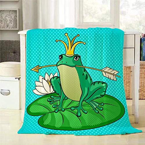 (Mugod Green Frog Throw Blanket Princess Frog Fairy Tale Animal Pop Art Retro Soft Warm Lightweight Cozy Luxury Suitable for Bedding Sofa Couch 40x50Inch)