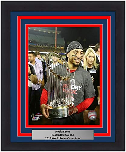 Red Sox 2018 World Series Champions Mookie Betts with Trophy 8