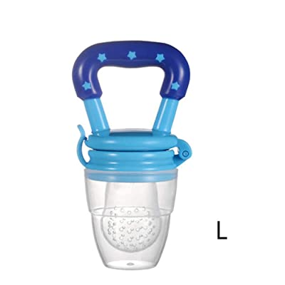 JINGYANHUA 1PC Baby Teether Nipple Fruit Food Mordedor Silicona Bebe Silicone Teethers Safety Feeder Bite Food Teether BPA Free,Blue,L: Home & Kitchen