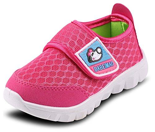 Femizee Toddler Boys Girls LightWeight Mesh Sneakers Kids Athletic Running Shoes,Hot Pink 1728 (Toddler Hot Pink Footwear)