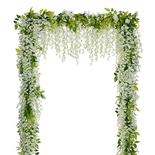 Lvydec Wisteria Artificial Flowers Garland, 4Pcs Total 28.8ft White Artificial Wisteria Vine Silk Hanging Flower for…