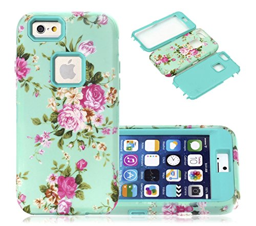 iphone 6s Plus Case, CexCob Vintage Floral Flowers [Shockproof 3 in 1 Hybrid] Rugged Heavy Duty Bumper Combo High Impact Durable Phone Case for Apple iphone 6s Plus / 6 (Vintage Orchid)
