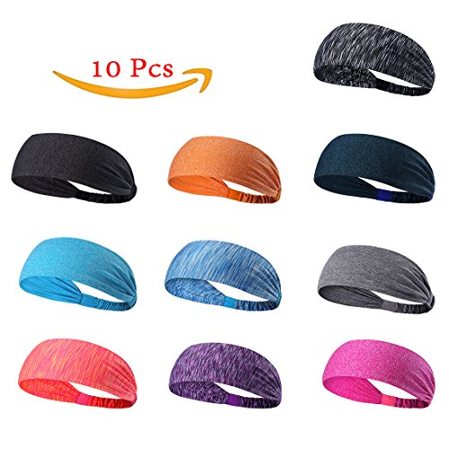 10 Pcs Men & Women's Sweatbands Sports Headbands Moisture Wicking Non Slip Head Bands Head Sarf Soft, Breathable and Stretchy for Yoga,Cycling,Running ,Fitness Exercise and other sports activities