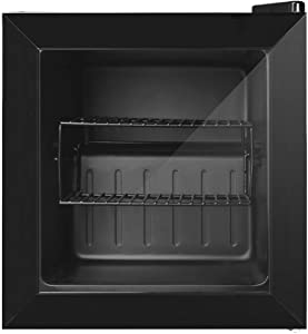 Coollife 1.1 cu. ft. Upright Freezer - Two Removable Shelves and Three-layers Glass Door, Compact Fridge Freezer with Adjustable Thermostat for Ice Cream/Breast Milk/Sea Food/High-alcohol Liquor