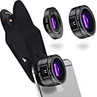 iPhone Lens Kit 0.35 x Super Wide Angle Lens, 15 x Macro Lens, Universal Clip, Premium Quality, 2 in 1 Professional HD Camera Lens for iPhone 7 Plus / 6 / 5 Samsung / Android and Most Smartphone