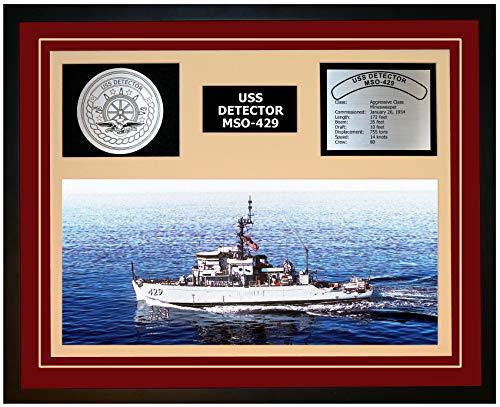 (Navy Emporium USS Detector MSO 429 Framed Navy Ship Display Burgundy)