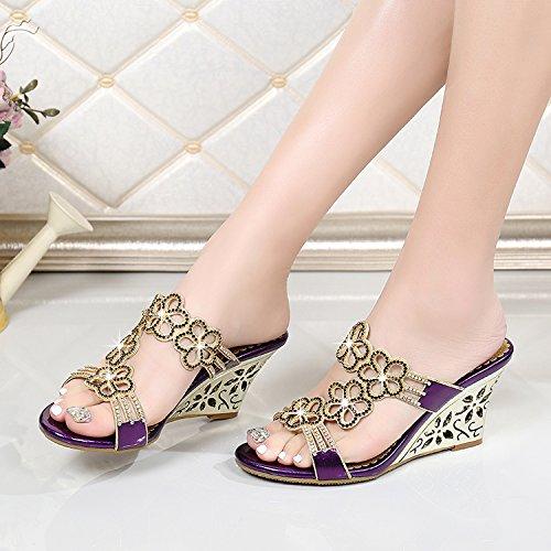 Señoras sandalias de cuero con pendiente toe zapatillas Sandalia de Verano 39 gold Purple