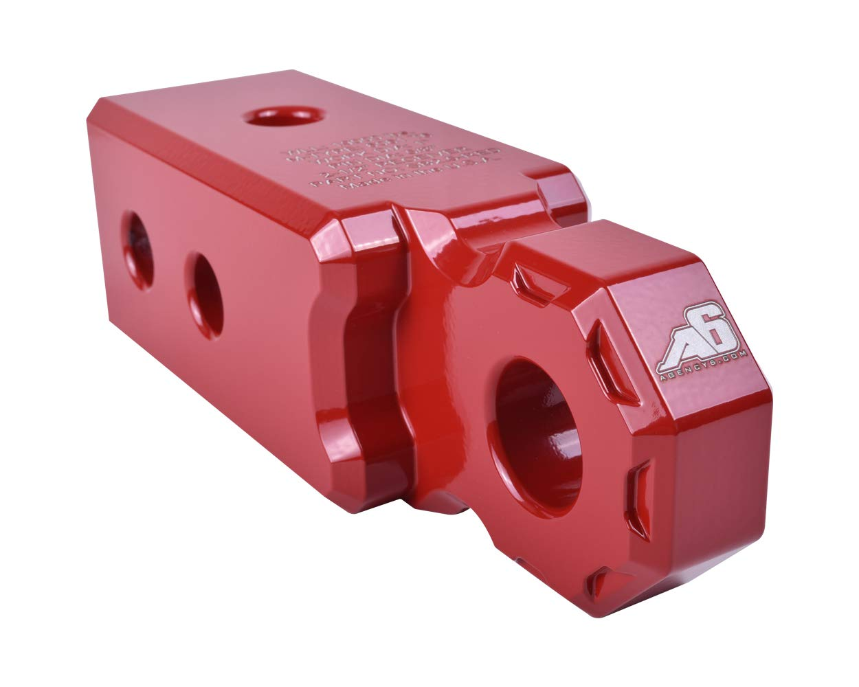 Agency 6 Recovery Shackle Block 2.5'' RED Powder Coat - Hitch Receiver Fits 2.5 inch Hitch receivers HitchLink Recovery Tow Block - Proudly Made in The USA with US Certified Materials by Agency 6