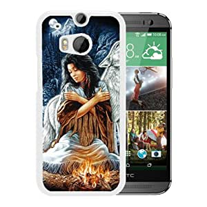 Custom Luxury Cover Case With Grim Wolf Indian Girl White HTC ONE M8 Case