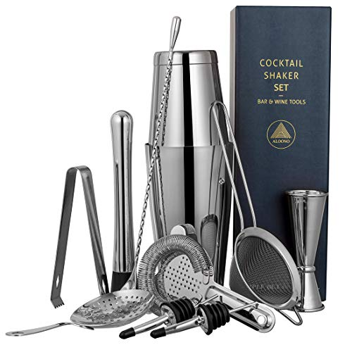 Shaker Boston (11-piece Cocktail Shaker Bar Set: 2 Weighted Boston Shakers, Cocktail Strainer Set, Double Jigger, Cocktail Muddler and Spoon, Ice Tong and 2 Liquor Pourers)