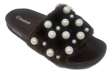 4c484b0b394 Women s Embellished Pearl Faux Fur Fuzzy Furry Platform Wedge Slide Sandals  Slippers (5