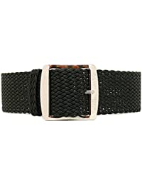 DaLuca Braided Nylon Perlon Watch Strap - Black (Polished Buckle) : 20mm