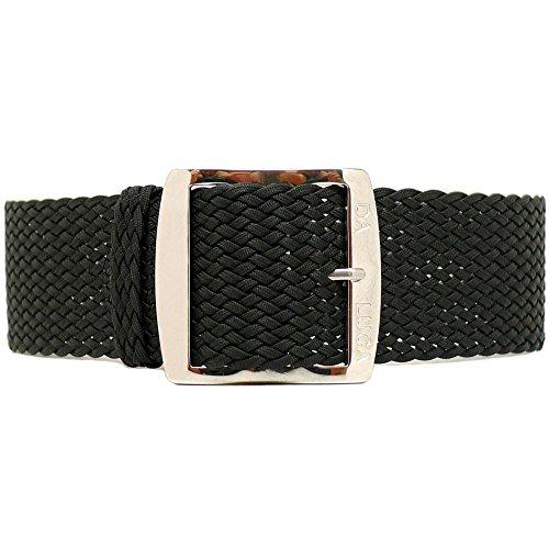 DaLuca Braided Nylon Perlon Watch Strap - Black (Polished Buckle) : 18mm
