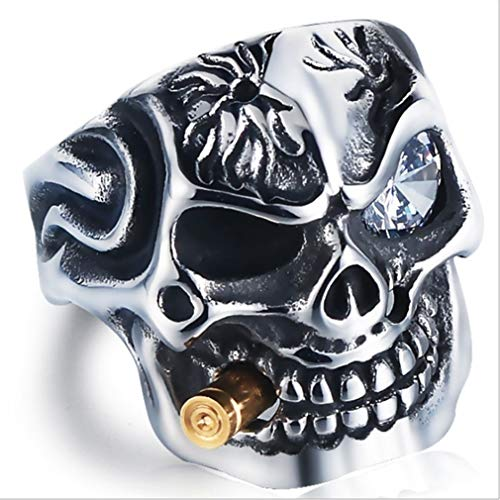 EH-LIFE Mens Retro Skull Smoking Rings Alloy Vintage White Crystal Rings Jewelry Gifts 7 by EH-LIFE (Image #2)
