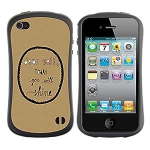 """Hypernova Slim Fit Dual Barniz Protector Caso Case Funda Para Apple iPhone 4 / iPhone 4S [Inspirado burbuja Texto motivación""""]"""