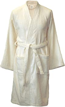 807f013dde Personalised Cream Embroidered Towelling Kimono Style Bathrobe   Dressing  Gown (L XL Back Embroidery)