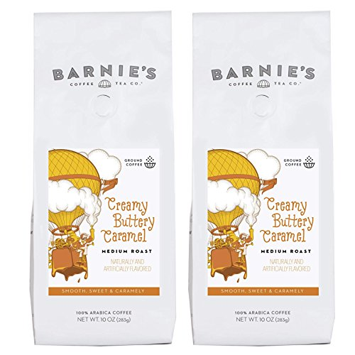 Barnie's Creamy Buttery Caramel Ground Coffee | Smooth and Sweet and Caramel Flavored Coffee | Sugar Free, Gluten Free, Nut Free, Fat Free | Medium Roasted Arabica Coffee Beans | 2-Pack ()