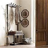 KSUNGB Retro Iron Coat racks Solid wood Shoe rack Hanging hanger Hanging frame Clothing display stand Change the shoe stool , 8030165cm