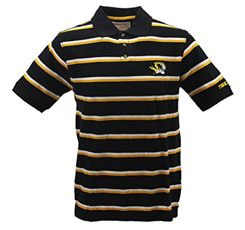 Yellow Black Stripe Shirt (Pressbox Men's Missouri Tigers Black with Yellow White Stripes Polo Shirt)