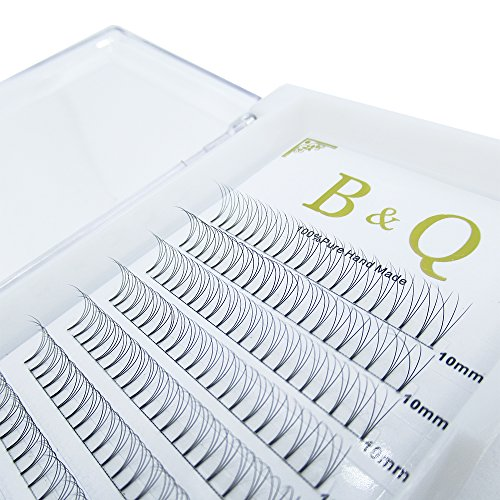 Premade Volume Fans Eyelash Extensions 12 Rows/Tray Short Stem Russian Volumes Lashes Extensions Fans Individual Cluster Eyelash Extensions (3D-D curl-0.07, 10mm)