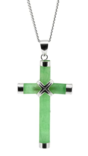 Bling Jewelry Modern Dyed Green Jade Cross Pendant Sterling Silver Necklace 16 Inches kZBkaB