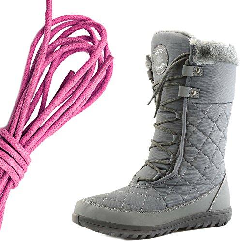 Dailyshoes Comfort Da Donna Punta Rotonda Stivaletto Alla Caviglia Medio Alto Alla Caviglia Eskimo Invernale, Rosa Grigio