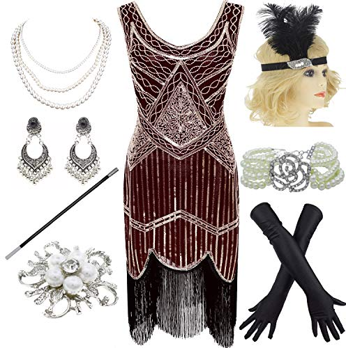1920s Gatsby Fringed Paisley Plus Size Flapper Dress with 20s Accessories Set (XXL, Wine Red) -