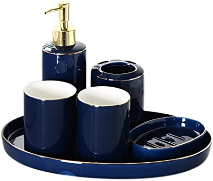 Amazon Com Zyqzxhn Vintage Ceramic Bathroom Accessories Sets Bathroom Vanity Decor Simple Dark Blue 6 Piece Contain Soap Dispenser 2 Pcs Tumbler Vanity Tray Toothbrush Holder Soap Dish For Home Hotel Toilet Furniture Decor