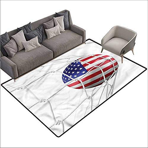 Anti-Slip Outdoor Rugs Sports,USA Flag Soccer Ball in Net 48