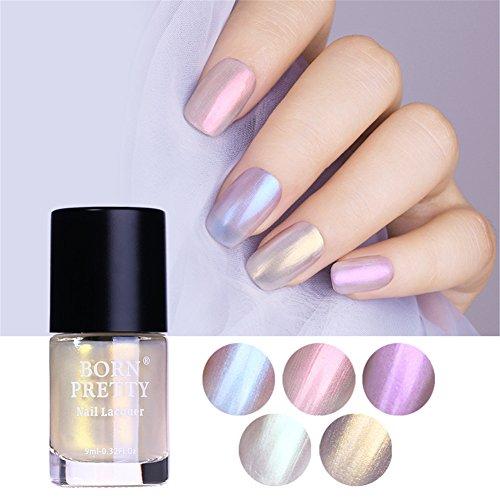 BORN PRETTY Nail Art Pearl Mermaid Polish Transparent Shell Glimmer Lacquer Shiny Shimmer Manicure Varnish 5 (Transparent Shimmer)