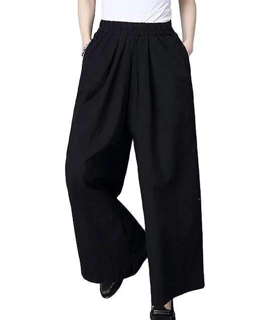 e22a99e4f NiSeng Mujer Casual Pantalones Anchos Elegante Palacio Pantalones Suelto  Color Sólido Harem Pantalones Loose Lino Pantalon