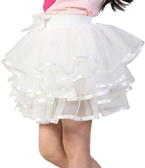 Doubleer - Falda de tutú de gasa para niñas, con lazo, faldas para ...