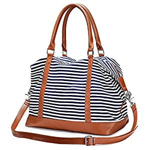 S-ZONE Women Canvas Weekender Bag Overnight Carryon Duffel Tote PU Leather Strap