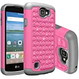 LG K4 Case, NOKEA Studded Rhinestone Crystal Bling [Shockproof] Hybrid Dual Layer Armor Defender Protective Case Cover for LG K4 LTE / LG Spree / LG Opitmus Zone 3 (Pink Grey)