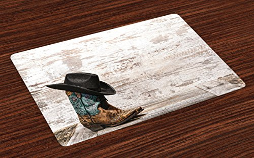 Ambesonne Western Place Mats Set of 4, Traditional Rodeo Cowboy Hat and Cowgirl Boots Retro Grunge Background Art Photo, Washable Fabric Placemats for Dining Room Kitchen Table Decor, Brown - Western Pictures Kitchen