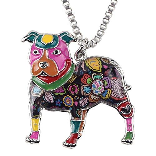 "BONSNY Love Heart Enamel Zinc Alloy Metal Pit Bull Buster Dog Necklace Dog Animal Jewelry pendant Unique Design 18"" (Multicolor)"