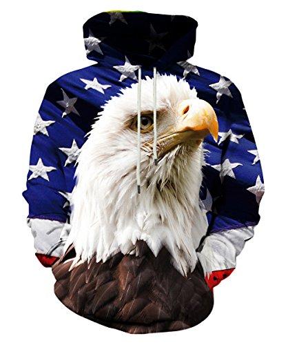 LAIDIPAS Unisex Realistic 3D Digital Print Pullover Hoodie Hooded Sweatshirt XL
