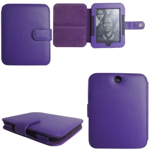 Mochie (Trademark) Genuine Leather Case Cover for Barnes Noble Nook 3 GlowLight and Nook 2 2nd Edition Generation Simple Touch (Purple) (Nook Cover 2nd Generation)