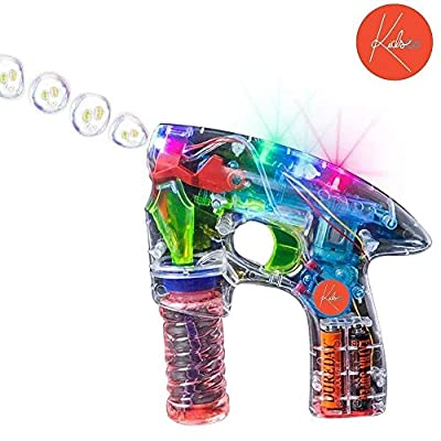 Kicko Bubble Gun Blower Machine - Light-up LED Transparent Blaster - for Kids, Playing, Outdoors, Indoors, and Party Favors - 1 Bubble Solution and Batteries Included: Toys & Games