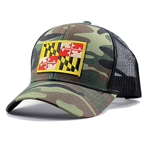 Homeland Tees Men's Maryland Flag Patch Army Camo Trucker Hat - Army Camo (Maryland Camo Hat)
