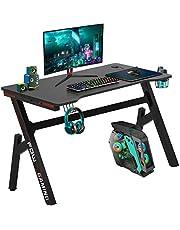 """Computer Desk, Gaming Desk 45.2"""" Student PC Desk Writing Desk Office Desk Extra Large Modern Ergonomic Racing Style Table Workstation Carbon Fiber Cup Holder Headphone Hook"""