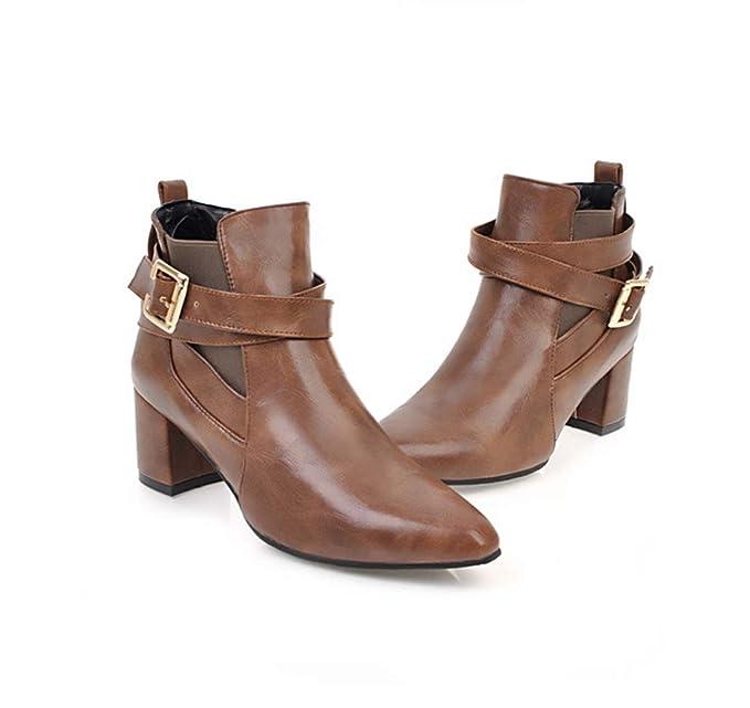 Botas de las mujeres, botas de tobillo mujeres más terciopelo para mantener el talón caliente grueso dedo del pie en puntas de Martin botas (4 colores): ...