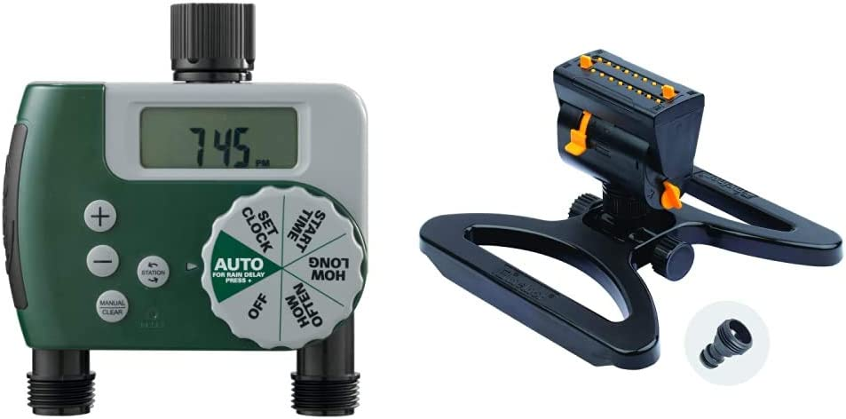 Orbit 58910 Programmable Hose Faucet Timer, 2 Outlet, Green & Melnor 65003-AMZ MiniMax Turbo Oscillating Sprinkler with QuickConnect Product Adapter Watering Set, On Base, Black, Yellow