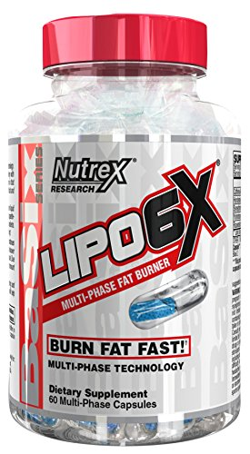 Nutrex Research Lipo 6X | Multiphase Liquid & Beadlet Rapid Thermogenic Fat Burner (60 Capsules)