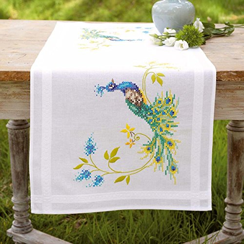 Vervaco Peacocks Table Runner Stamped Embroidery Kit